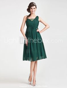 A-line Straps Knee-length Chiffon Tulle Bridesmaid Dress - GBP £ 83.54