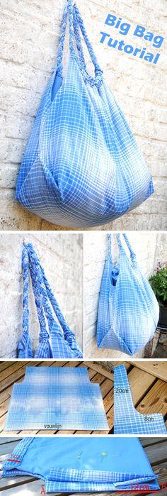 Bag Tote DIY Tutorial. How to sew a big bag  http://www.free-tutorial.net/2016/12/big-bag-tutorial.html