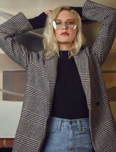 Houndstooth Long Blazer Coat