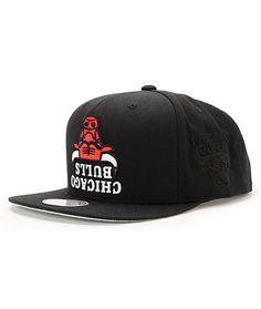 5b7b193db7c NBA Hall Of Fame x Mitchell and Ness Upside Down Bulls Black Snapback Hat