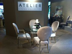 Designmaster's dining set in the Atelier collection features a beautiful crystal spray on the backs of the chairs, by none other than our #hiddengems partner, Swarovski! TheHome.com #hpmkt