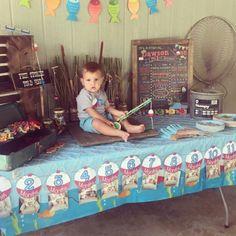 Bobber Banner for Fishing Themed 1st Birthday Party