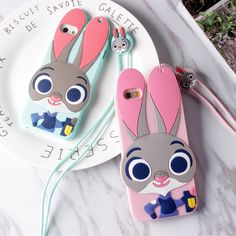 Cute lovely 3D Soft Gel Rubber Silicone Case for iPhone 5 / 6 / 7 ( Rabbit Judy) with neck chain