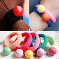 5Pc Fashion Cute Bead Elastic Hair Rings Ties Styling Tools Rubber Elastic Rings For Hair Ponytail Holder Girls Hair Accessories