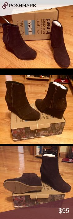 Authentic Tom Brown Suede Wedge Boots I bought these and never got to wear them. Brand New and Authentic Tom Brown Suede zip up boots. So comfortable and great for everyday wear. TOMS Shoes Ankle Boots & Booties