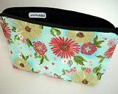 Large Cosmetic Bag Flat bottom Zipper Pouch (Padded) - Formosa Blue