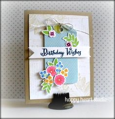 floral birthday card _ Happy Heart Studio Wplus9- Fresh Cut Florals Lawn Fawn- Into the Woods 6x6 paper, Tag You're It Lawn Cuts die, Silver Sparkle Lawn Trimmings Pink Paislee- Butterfly Garden No.14 Hero Arts- It's Your Day