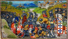 14.08.1385.The battle of Aljubarrota,(Castile vs Portugal, 1385). (British Library, Royal 14 E IV f. 204 recto)15th Century (1479/80)  Jean d'Wavrin (Chronique d'Angleterre)