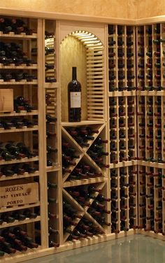 """Wood wine cubes are perfect for nooks, crannies, and converting that """"underneath"""" space into wine storage. Wood Wine Racks, Wine Rack Wall, Wine Cellar Basement, Home Wine Cellars, Wine Rack Storage, Wine Cellar Design, Wine Display, Wine Decor, Wine Cabinets"""