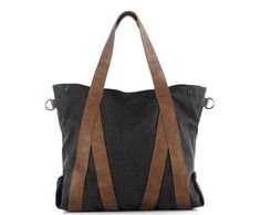 Black Leisure single shoulder bag Leather Canvas Messenger Bag Washed Canvas Bag Laptop Bag 1123