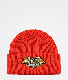 Add some vibrant color to your favorite cold weather looks with the Loser Machine Frank orange beanie. This bright orange beanie features a thick ribbed construction for warmth and comes complete with a classic logo patch on the front cuff that includes an eagle and logo script for an iconic branded look overall.