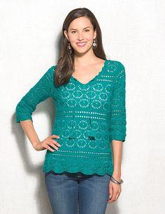 Teal Open Stitch Tassel Sweater | dressbarn