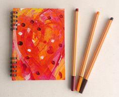 Cuaderno Rojo corazón, pintado a mano, Arte, Pintura, Papel, Diarios, Papel, Cuadernos, Papel, Notas