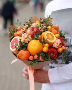 Image may contain: one or more people Candy Bouquet Diy, Food Bouquet, Bouquet Box, Fruit Centerpieces, Edible Arrangements, Fruit Flower Basket, Vegetable Bouquet, Vegetable Crafts, Flower Box Gift