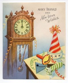 Vintage DA Line New Years Eve Greeting Card Party Goods Clock at Midnite 1950's