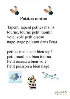 Education 527765650074802581 - Tapent, tapent petites mains Source by mamypatzy Kindergarten Activities, Activities For Kids, French Poems, French Education, Kids Poems, History For Kids, French Lessons, Teaching French, Songs To Sing