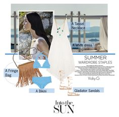 Designer Clothes, Shoes & Bags for Women White Dress Summer, Summer Dresses, Fringe Bags, Ancient Greek Sandals, Summer Tops, Summer Wardrobe, Polyvore Outfits, Gladiator Sandals, Wardrobe Staples