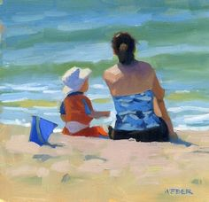 """The blue bucket"" - Original Fine Art for Sale - © Kathy Weber - this is so simple yet complex and honest. Painting People, Figure Painting, Am Meer, Kathy Weber, Beach Scenes, Fine Art Gallery, Beautiful Paintings, Figurative Art, Painting Inspiration"