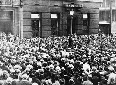 A crowd in Vancouver protests Canadian relief policies in 1937 during the Great Depression in Canada.