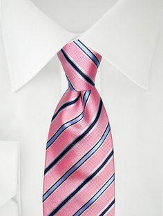 Stropdas smal strepen roze/blauw/wit