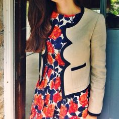 Sarah KJP scalloped blazer and floral dress