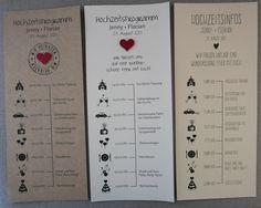 Individuelles Hochzeitsprogramm! Tagesablauf mit Zeitplan als Information für Ihre Hochzeitsgäste im DIN Lang oder praktischen Pocketformat.