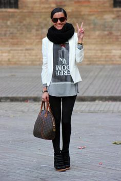 black tights plus a high black wedge shoe are so slimming for legs....love!