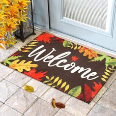 -Indoor and Outdoor Fitting Doormat - This fall leaves doormat measures 18 x 30 inches and is 1/2 inch thick.... -Comfortable Stiff Polyester Rugs - The autumn rug of this material are very suitable for printing exquisite patterns... -Exquisite Autumn Welcome Carpet - This doormat features autumnal foliage printed in red... -Colorfast And Weather Tolerant-cleaning with vibration, sweeping or vacuuming is a very convenient and effective way to clean our doormats...  #falldecor #Thanksgiving  Fall Apartment Decor, Polyester Rugs, Fall Leaves, Front Porch, Porch Rugs, Fall Decor, Carpet, Kids Rugs, Doormat