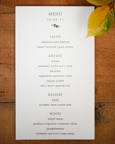 DIY: Easy Menu Cards | The Budget Savvy Bride. Dont forget this!!L