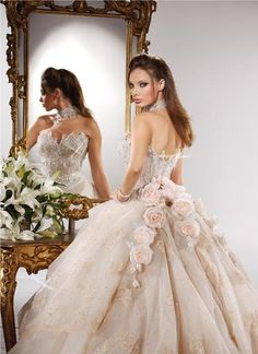 beautiful light pale pink rose beige ball gown wedding dress with bling bodice