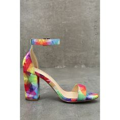Morela Multi Print Ankle Strap Heels ($33) ❤ liked on Polyvore featuring shoes, pumps, liliana footwear, peep toe pumps, structure shoes, rainbow footwear and liliana pumps