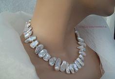 ♥♥♥ PRACHTVOLLES COLLIER WEISSE BIWA PERLEN BRAUT-KETTE ♥♥♥  Atemberaubendes schönes Collier aus echten Süßwasserzuchtperlen sogenannte Biwa Perlen di