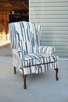 Lemonade And Porch Swings: How To Reupholster A Wingback Chair Part II  #ReupholsterChair