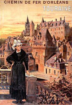 Réclame d'autrefois (1906) : Chemin de fer d'Orléans. Touraine, Loches Illustrateur : Théophile Poilpot (1848-1915)