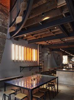 Architecture | Reuben Hills Cafe / Herbert Mason. STRIP LIGHTING. WAREHOUSE. INDUSTRIAL.