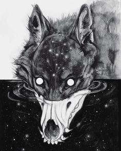 Artwork by Brian Serway Dark Art Drawings, Animal Drawings, Cool Drawings, Dessin Old School, Demon Dog, Drawn Art, Anime Wolf, Creepy Art, Dark Fantasy Art