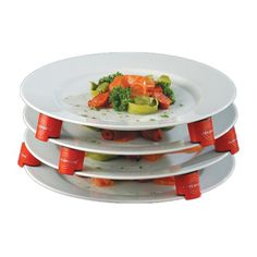 The Plate Spacers are an easy and convenient way to stack prepared plates in your kitchen. Each unit has a rubber layer on the top and bottom for ensured security. The Plate Spacers are ideal for heating up multiple dishes in the microwave, and are refrigerator and freezer safe.