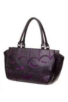 Gothic Vampire Bats Handbag Purse (Black / Purple). Buy Here: http://amzn.to/1QiPwG5