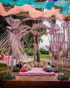 (C) Hitched&clicked | Wedding decor ideas Pink Wedding Theme, Quirky Wedding, Pink Wedding Dresses, Pooja Door Design, Mehndi Decor, Mehendi, Pink Bar, Wedding Doors, Bridal Decorations