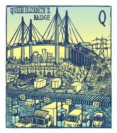 "Tobias Till ~ ""Q"" Queen Elizabeth II Bridge from London A-Z Complete Boxed Set (2012) ~ Linocut, Somerset satin 250 gsm paper, 41.5 x 37.5 cm"