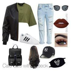 """""""Bts inspired outfits"""" by rachelullmann03 on Polyvore featuring LE3NO, adidas, Aspinal of London, '47 Brand, Lime Crime and Prada"""