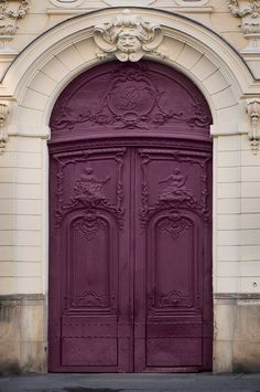 Adore this Aubergine paint colour on this Parisian Door
