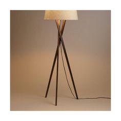 Cost Plus World Market Walnut Wood Tripod Austin Floor Lamp Base ($100) ❤ liked…