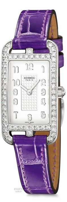 Hermes ~ Cape Cod Nantucket Silver Watch w Ultraviolet Leather Strap