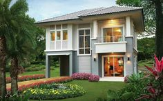 This two storey 3 bedroom house design has a total floor area of 150 sq. with 2 bathrooms. Simple yet colorful villa design meets the needs of many families in the future with all the functions, facilities and amenities. Two Story House Design, Bungalow House Design, Small House Design, Dream Home Design, Philippine Houses, Model House Plan, House Plans, Color Celeste, House Design Pictures