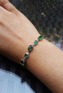 For sale ~ Green Swarovski Crystals Silver Bracelet