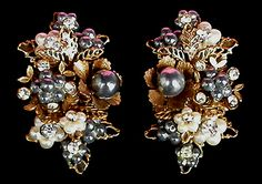 Miriam Haskell Style Antique Goldtone Faux Pearl Crystal Vintage   Floral Clip Earrings.
