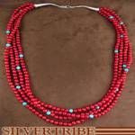 Coral and Turquoise Navajo Indian Bead Necklace