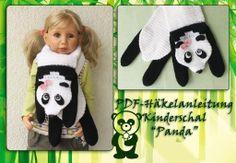 Panda, crochet, Schal,