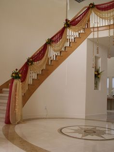 Staircase decor for a brides home! We love the colour scheme the couple chose. Wedding Staircase Decoration, Wedding Stairs, Marriage Decoration, Wedding Entrance, Wedding Stage Decorations, Backdrop Decorations, Wedding Backdrops, Diwali Decorations, Desi Wedding Decor